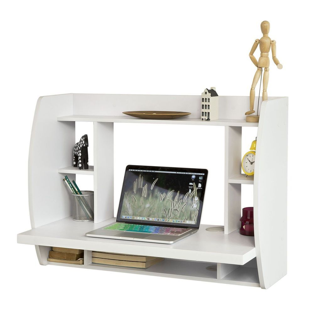 Wall Mounted Office Computer Desk Floating White Table Pc Study  # Muebles Sixbros