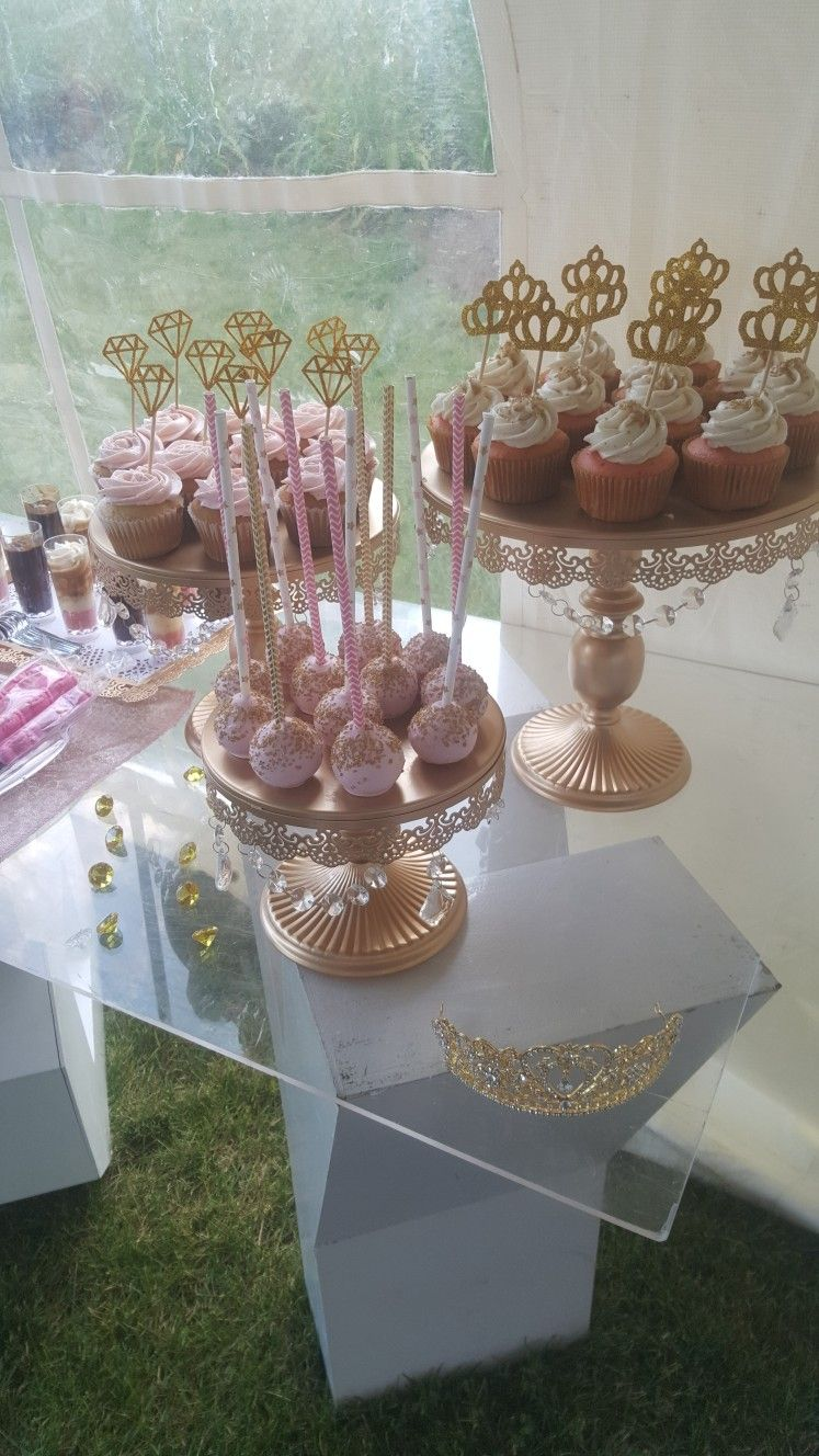 Blush Pink White And Gold Baby Shower Dessert Table Cupcakes And