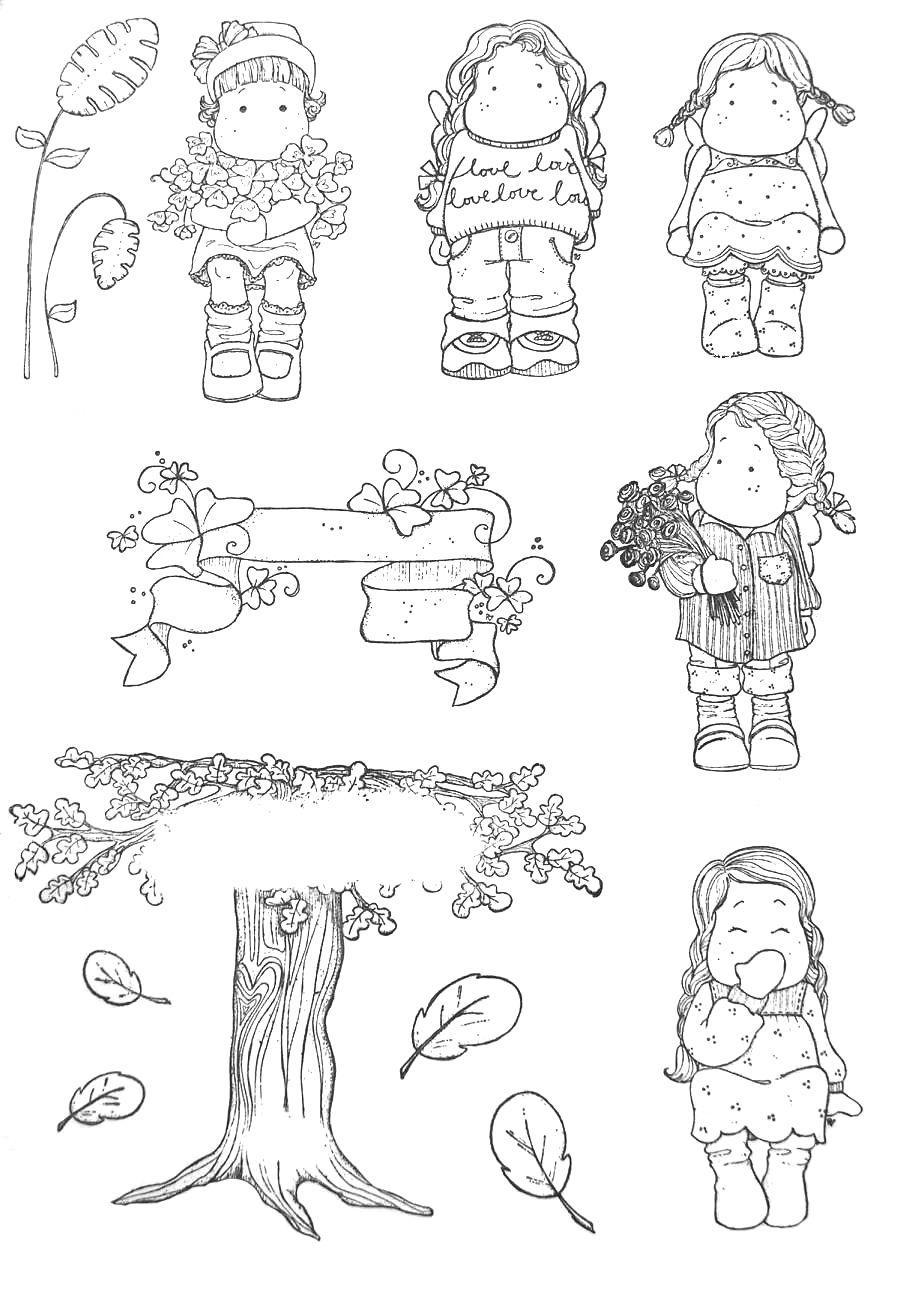 imágenes para colorear (campo) | A Lady and girl digi stamps ...