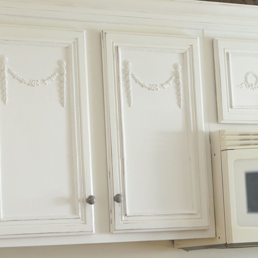 Adding Appliques To My Kitchen Cabinets Shabby Chic Kitchen Cabinets Diy Diy Cupboards Bookcase Door Diy