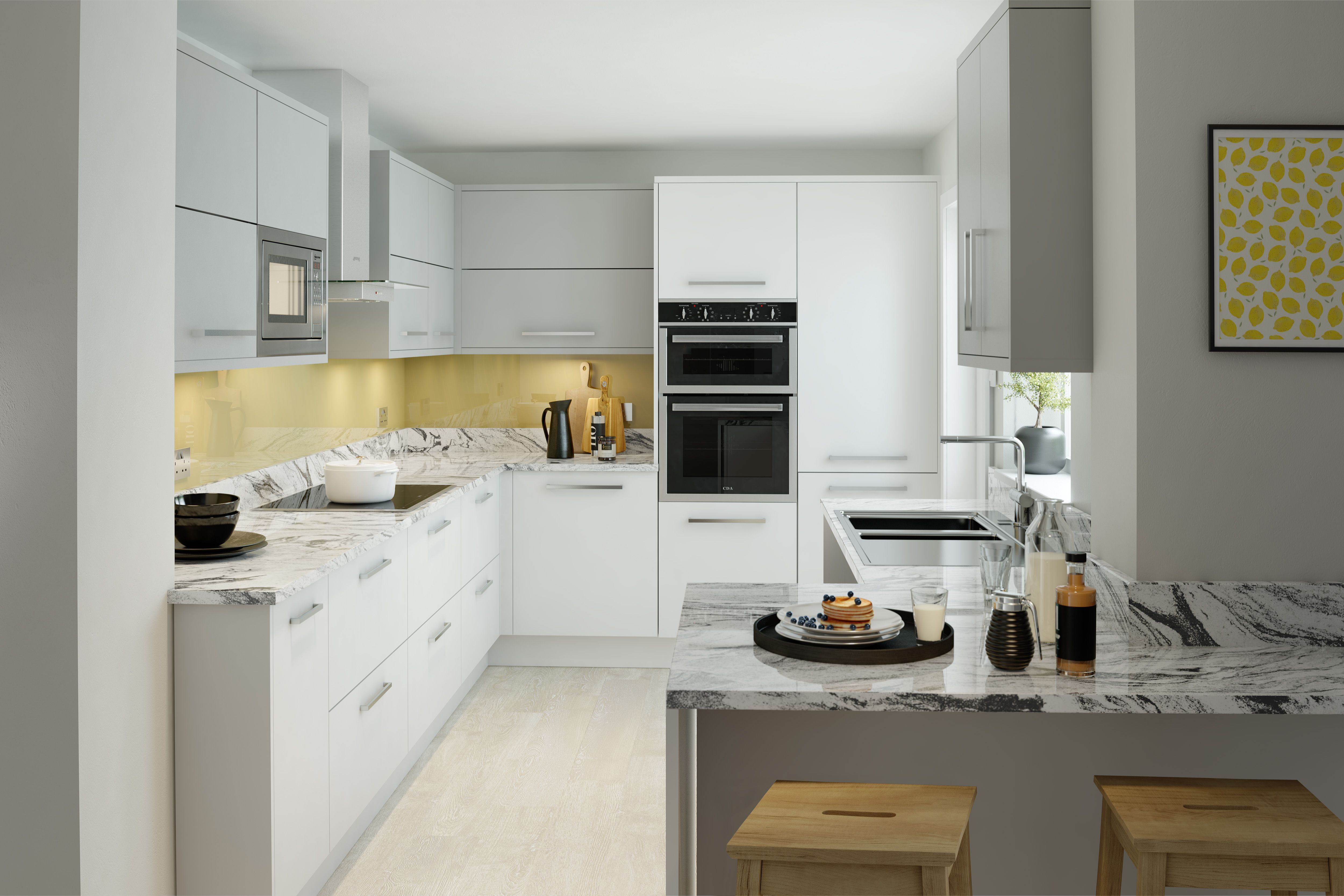 Cream shaker kitchen with intelligent pull out storage. This image ...