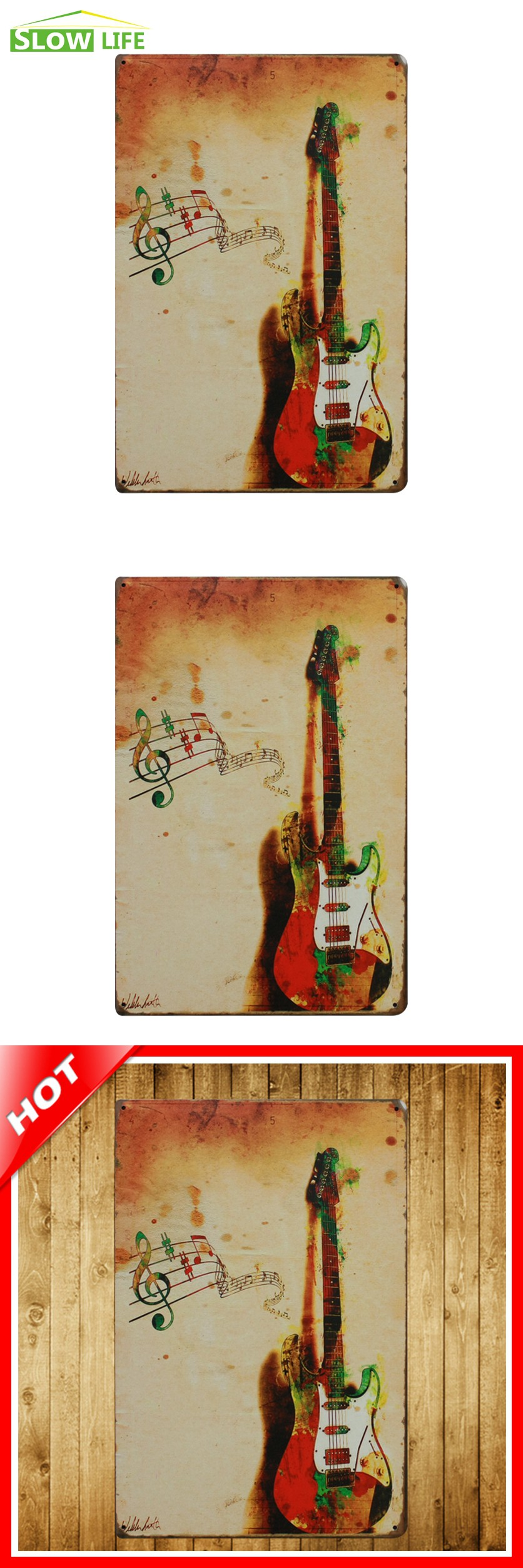 Music and guitar vintage home decor tin sign