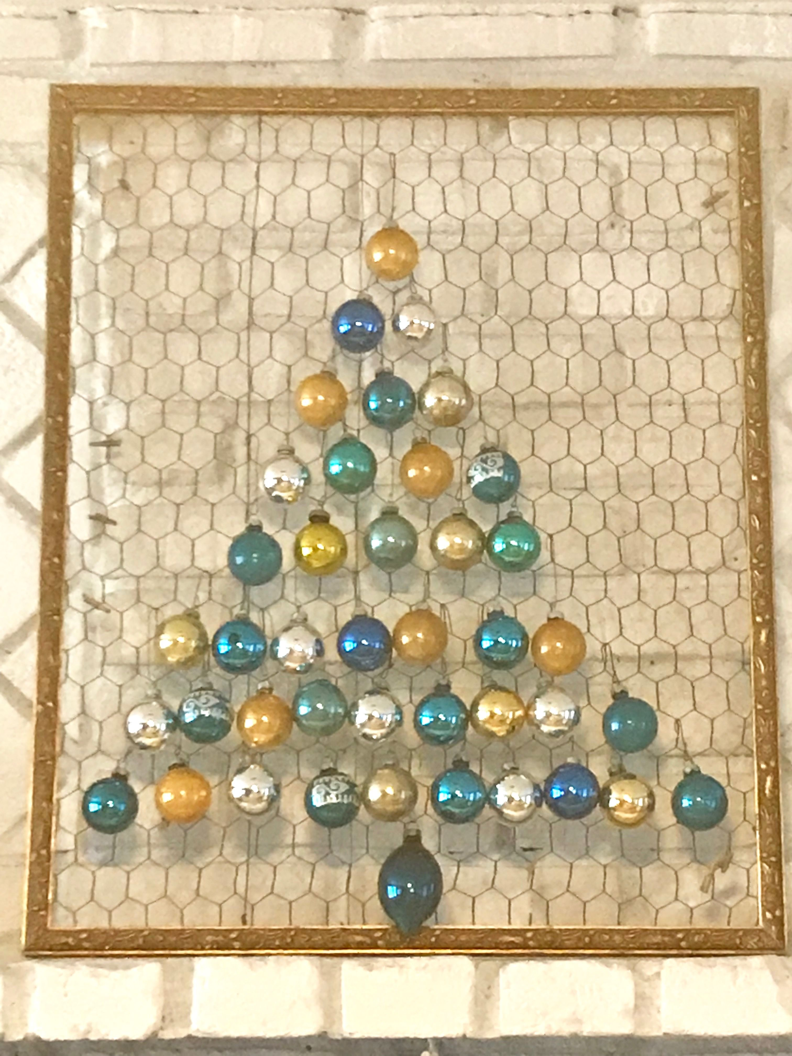 Christmas tree made using picture frame and chicken wire ...