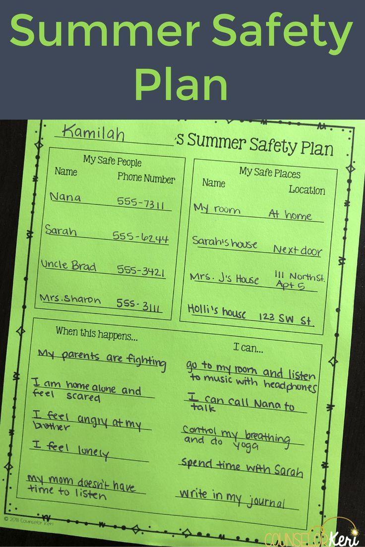 Summer Safety Plans Summer safety, School counseling