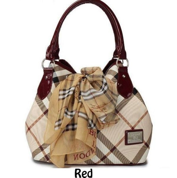 971616b587cf Burberry Plaid Red Bag Genuine Leather Classic with Lace Scarf ...