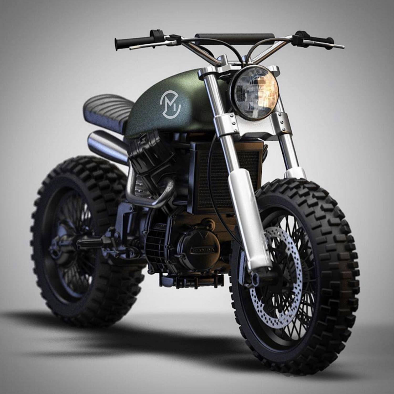 Honda CX500 Monoshock Scrambler Concept By Ziggy Moto 3D Artwork