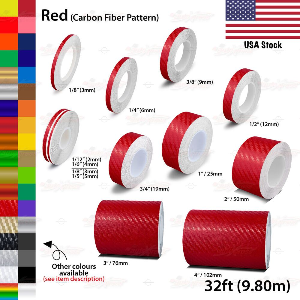 Carbon Fiber Red Vinyl Pinstriping Pin Stripe Car Motorcycle Tape Decal Stickers Unbrandedgeneric Pinstriping Carbon Fiber Vinyl Sticker