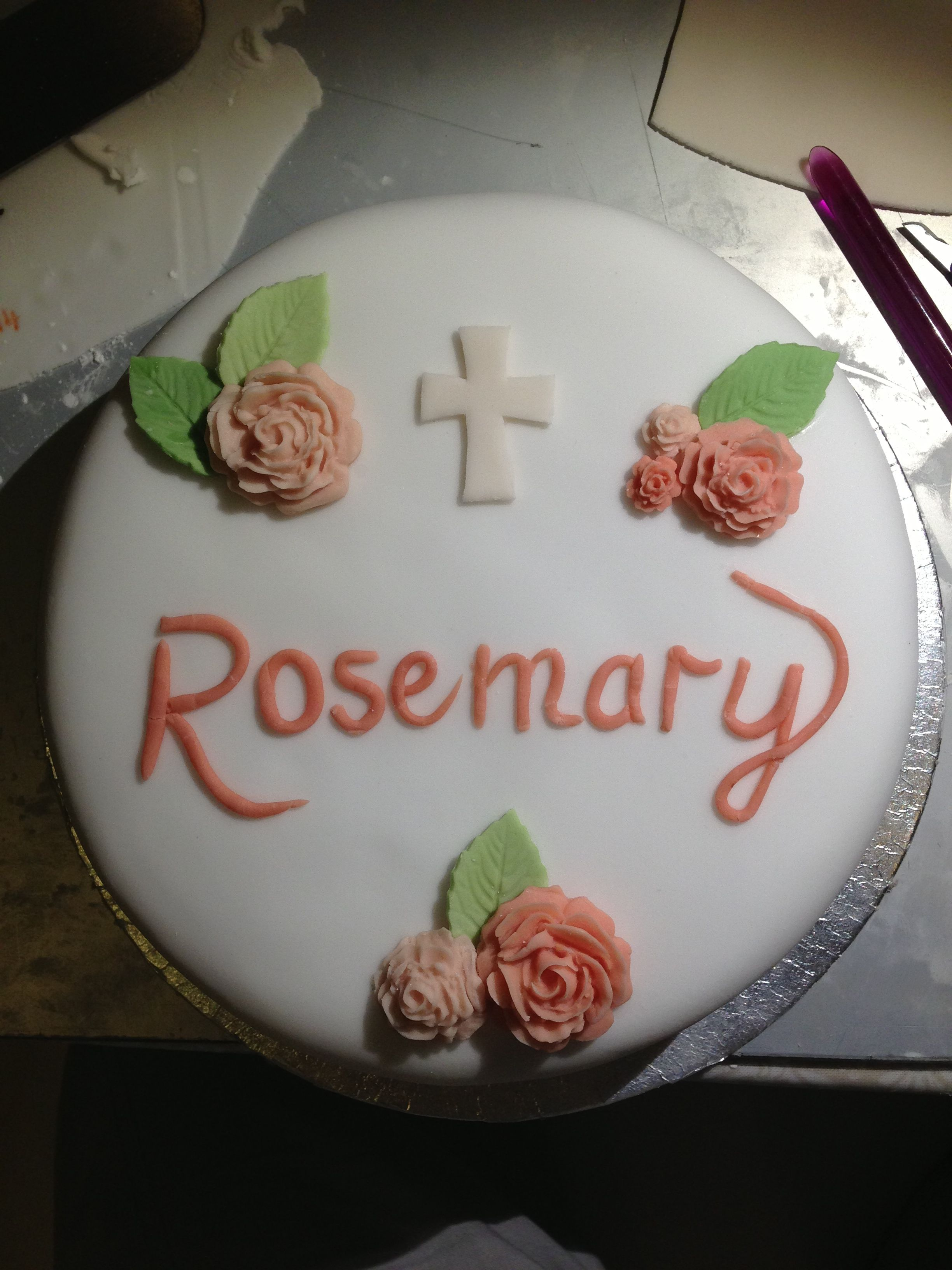Funeral cake for Gran Name with rolled fondant My cakes