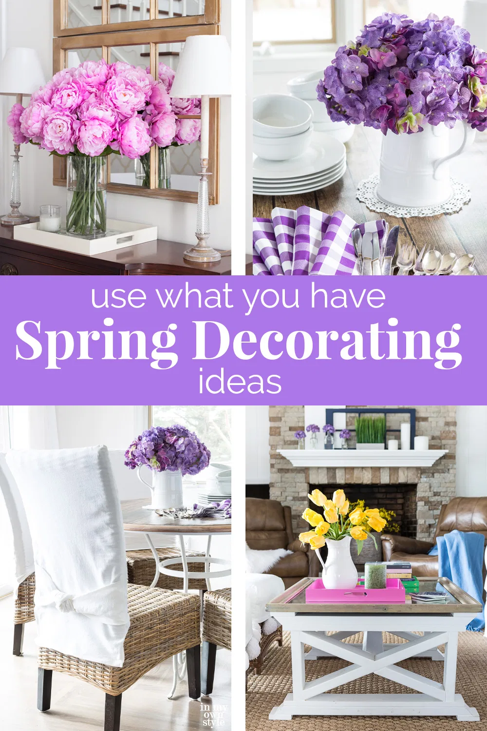 Spring decorating ideas that you can do in your home using items you already own. Use what you have decorating was never as easy and colorful as the ideas you will find in this home decorating ideas post. #springdecorating #usewhatyouhavedecor #Budgetdecorating #springrefresh