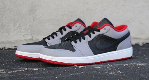 Air Jordan 1 Low Black/Gym Red-Cement Grey http://www