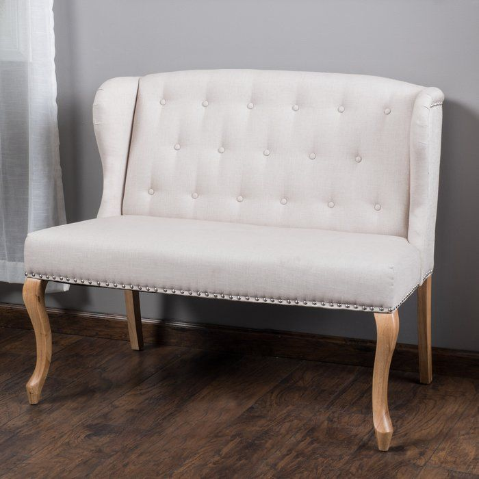 damask settee button black tufted white swoop bench upholstered loveseat