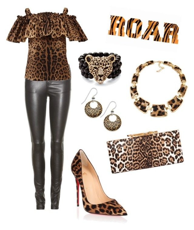 """Roar like a leopard!"" by prettyfashionist on Polyvore featuring Yves Saint Laurent, Jimmy Choo, Dolce&Gabbana, Christian Louboutin, Palm Beach Jewelry and Jody Coyote"
