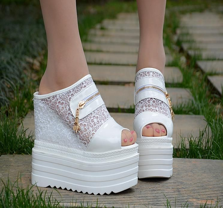 8de12b2c2f66 2018 Summer High-heeled Slipper Female Summer Thick-soled Water platform  Slope With shoes Sexy Increase Fish mouth Cool drag fem