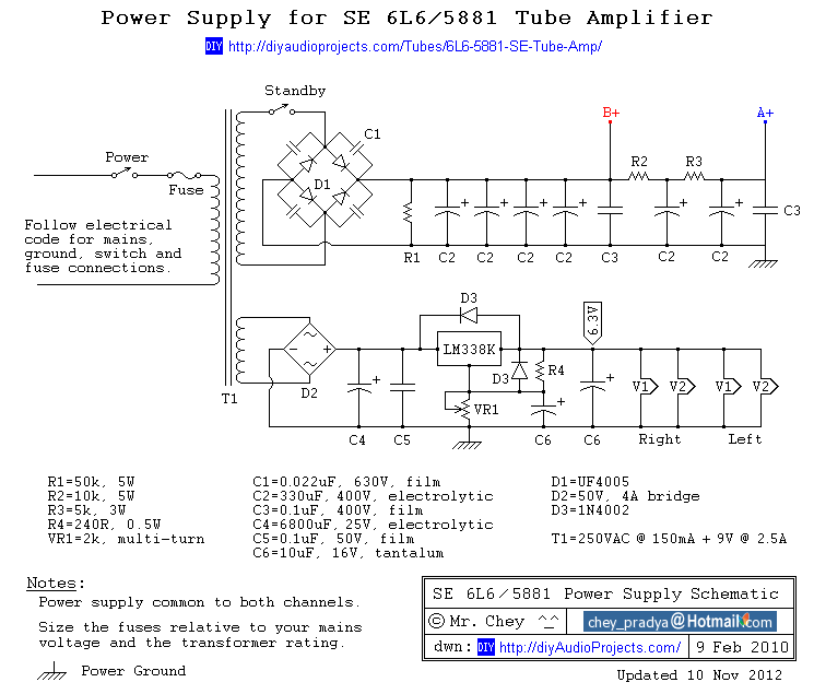 power supply schematic for 6l6 / 5881 single-ended (se) tube amp, Schematic