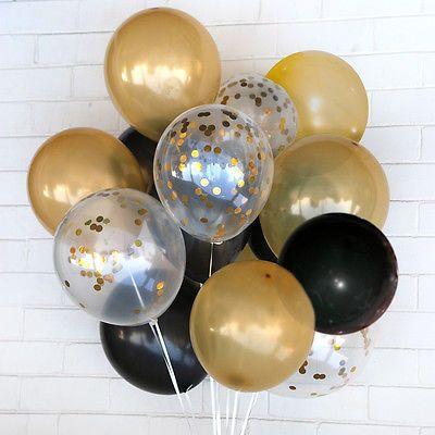 Set Of 24 Confetti Gold Black Balloon Bouquet Celebration