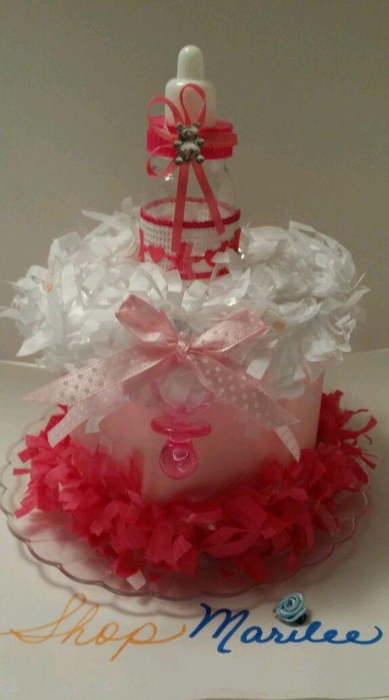Baby Bottle FuschiaPink Mini Baby Shower Diaper Cake1st Birthday