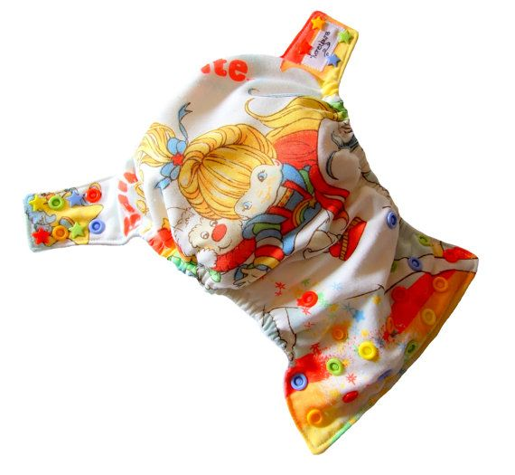 Rainbow Brite XS Newborn AIO Cloth Diaper with a Bamboo Organic Cotton soaker pad