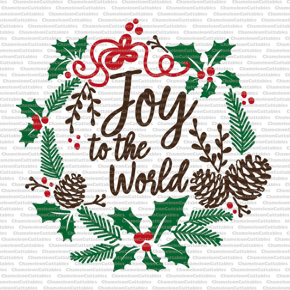 joy to the world, svg, Christmas, wreath, floral