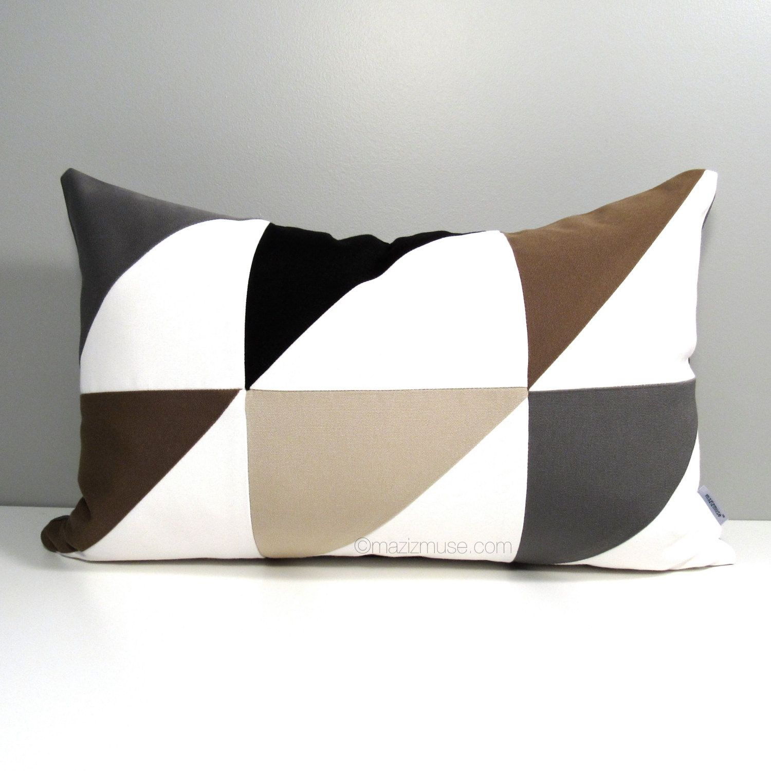 Modern Geometric Pillow Cover, Brown Grey Outdoor Pillow Case Decorative  Black White Throw Pillow Cover, Color Block Sunbrella Cushion Cover