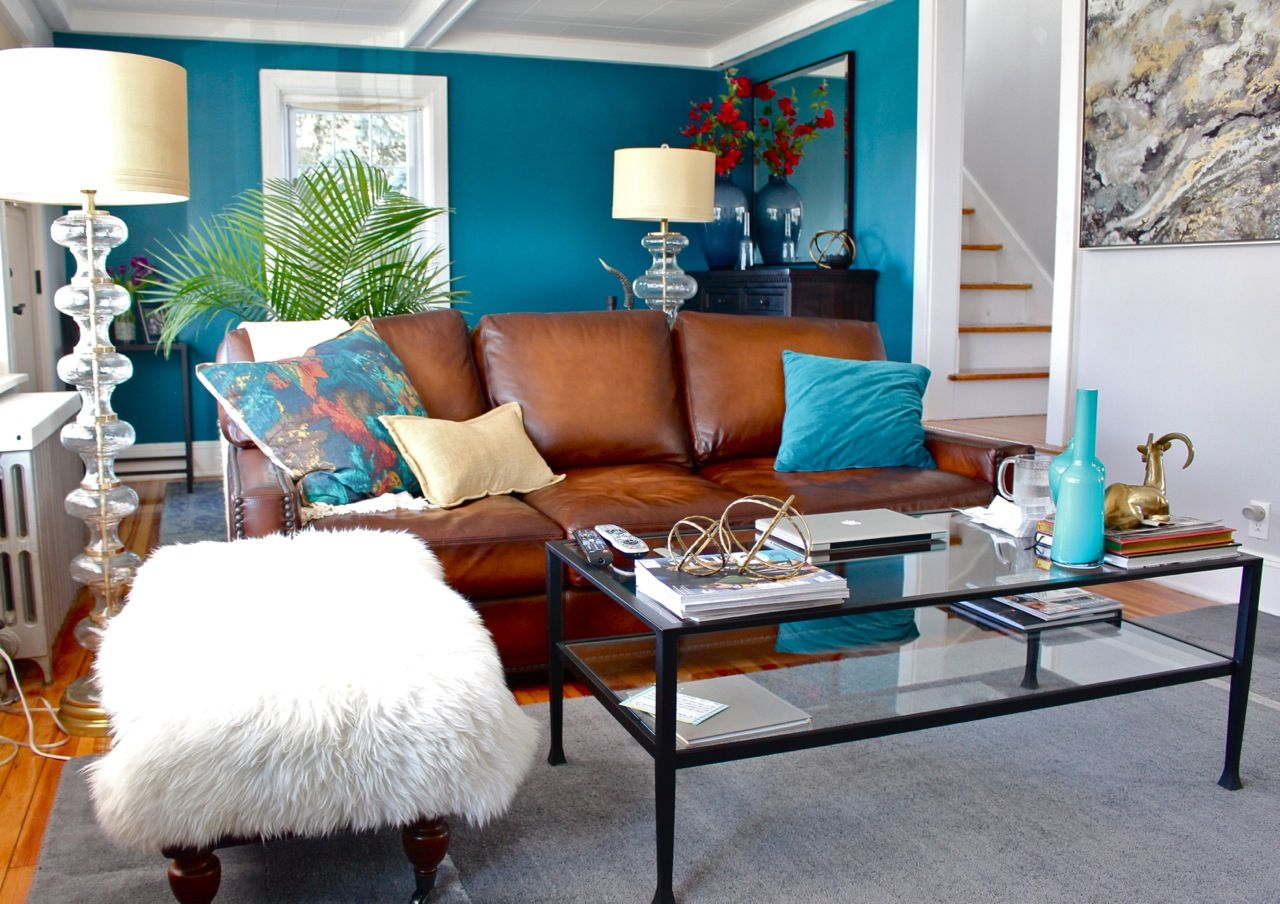 Teal Living Room Accent Wall Grey Living Room Brown Leather