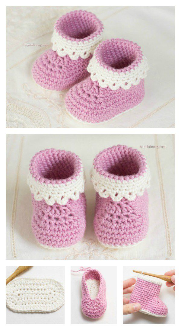 Pink Lady Baby Booties Free Crochet Patterns | Babyschühchen, Baby ...