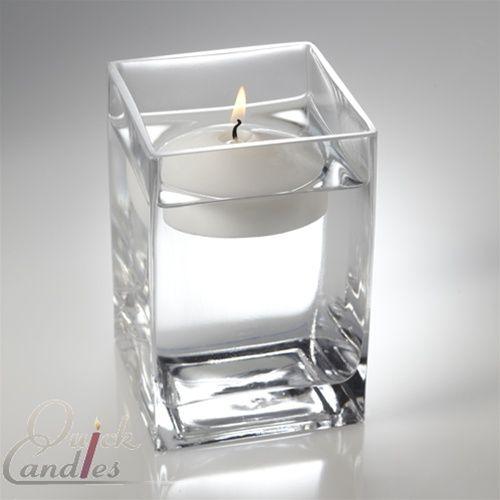 "Square Floating Candle Vase 6"" Set of 6"
