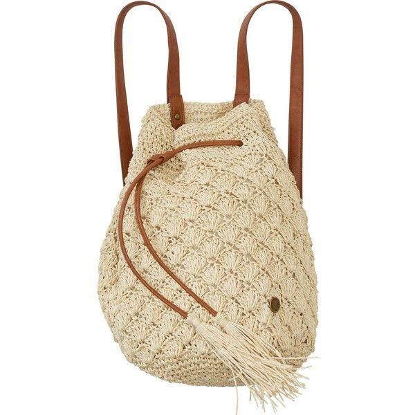 Bikini Beached Backpack (€55) ❤ liked on Polyvore featuring bags, backpacks, backpack, taschen, crochet bag, rucksack bags, straw bag, mini bags and mini backpack