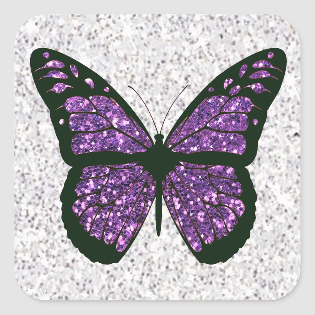 White and Purple Faux Glittery Butterfly Square Sticker | Zazzle.com