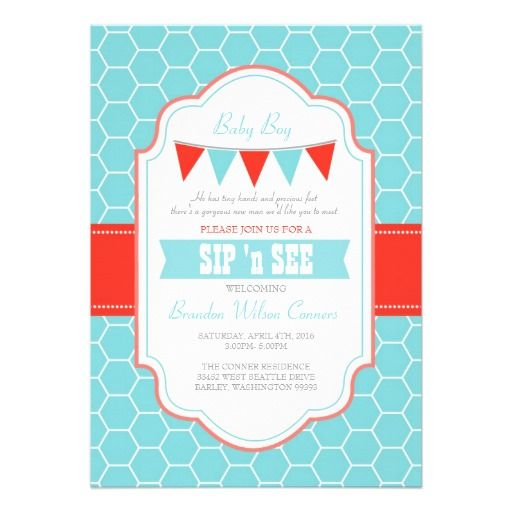 Sip and See Honeycomb Teal Red Personalized Invites