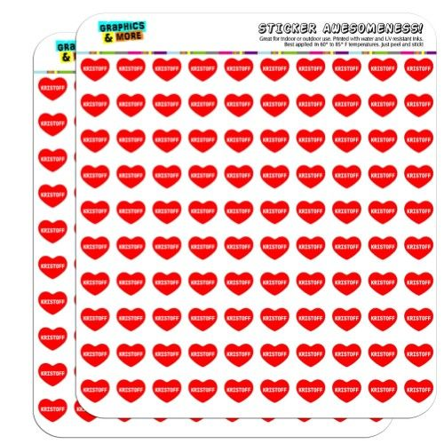 I Love Heart - Male Names - Kristoff - 1/2' (0.5') Scrapbooking Crafting Stickers