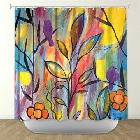 Artistic shower curtain   Ruth Palmer   Watching and Waiting   DiaNoche Designs
