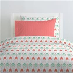 Coral and Teal Arrow Crib Bedding images