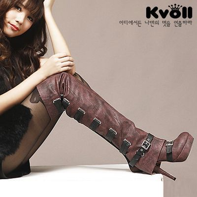 sexy women   buckle platform high heels  female spring  autumn  two ways over knee    thigh high boots $59.00