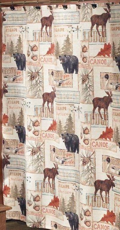 Vintage Lodge Moose And Bear 5 Piece Bath Set Cabin Decor Shower