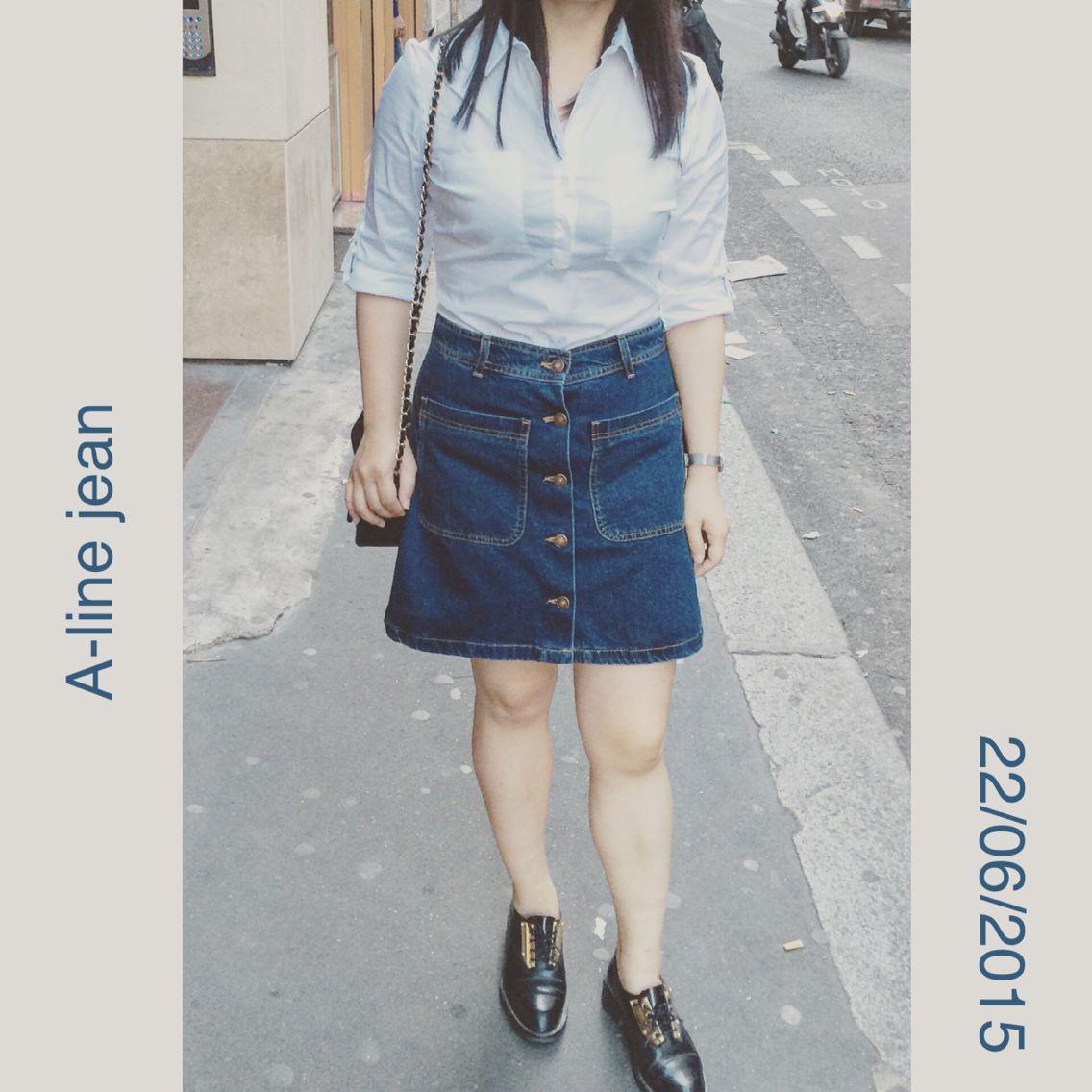 A line jean skirt