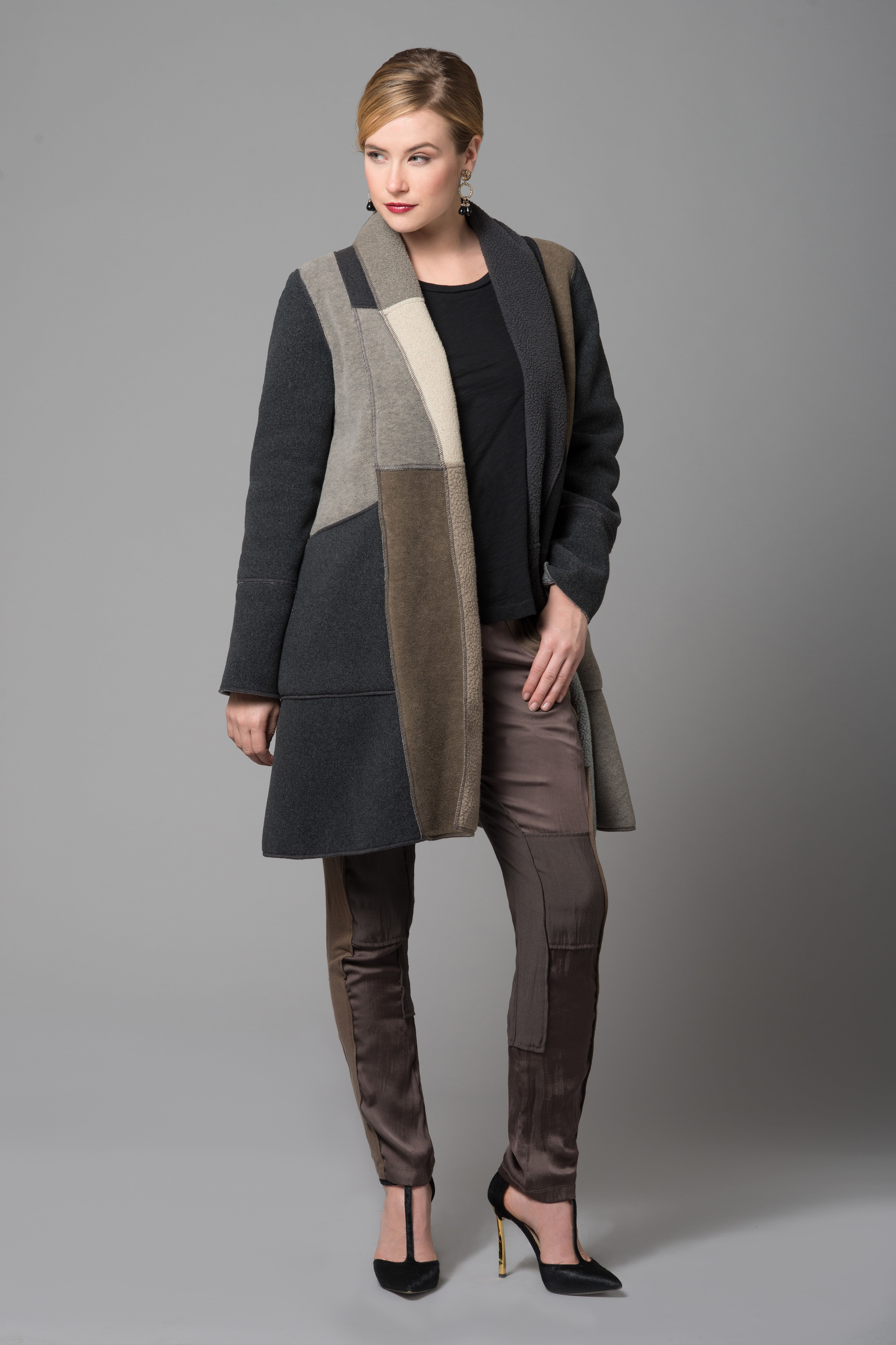 Multi Fleece Sylvia Jacket - neutral colors - sophisticated a-line shape - goes with everything! @cameleonjackets