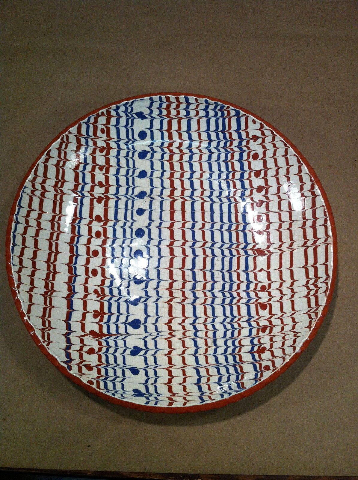 Slip decorate Redware Plate redwhite \u0026 blue Combed feather slipware Pottery & Slip decorate Redware Plate: redwhite \u0026 blue Combed feather ...