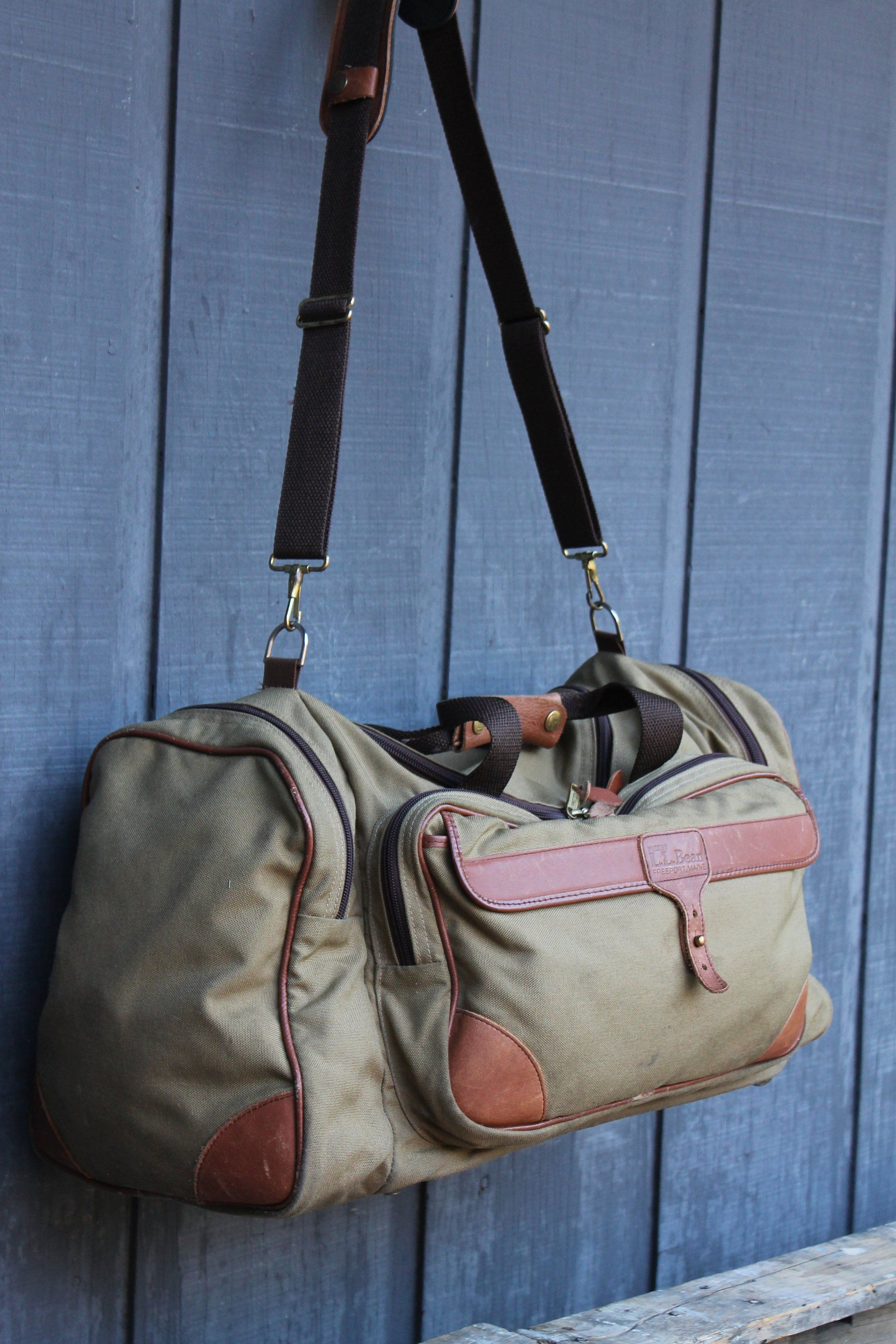 Vintage Unisex L L Bean Canvas With Leather Trim Duffle Travel Luggage Bag Bags Duffle Luggage Bags
