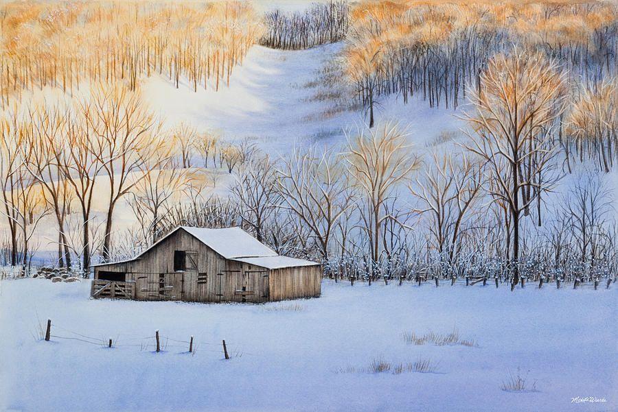 Winter Sunset Painting - Winter Sunset Fine Art Print