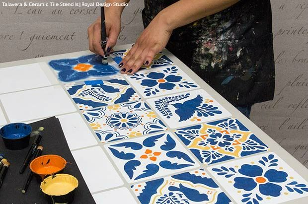 Decor N Tile Gorgeous How To Stencil A Mexican Talavera Tile Table  Diy Project Decorating Inspiration