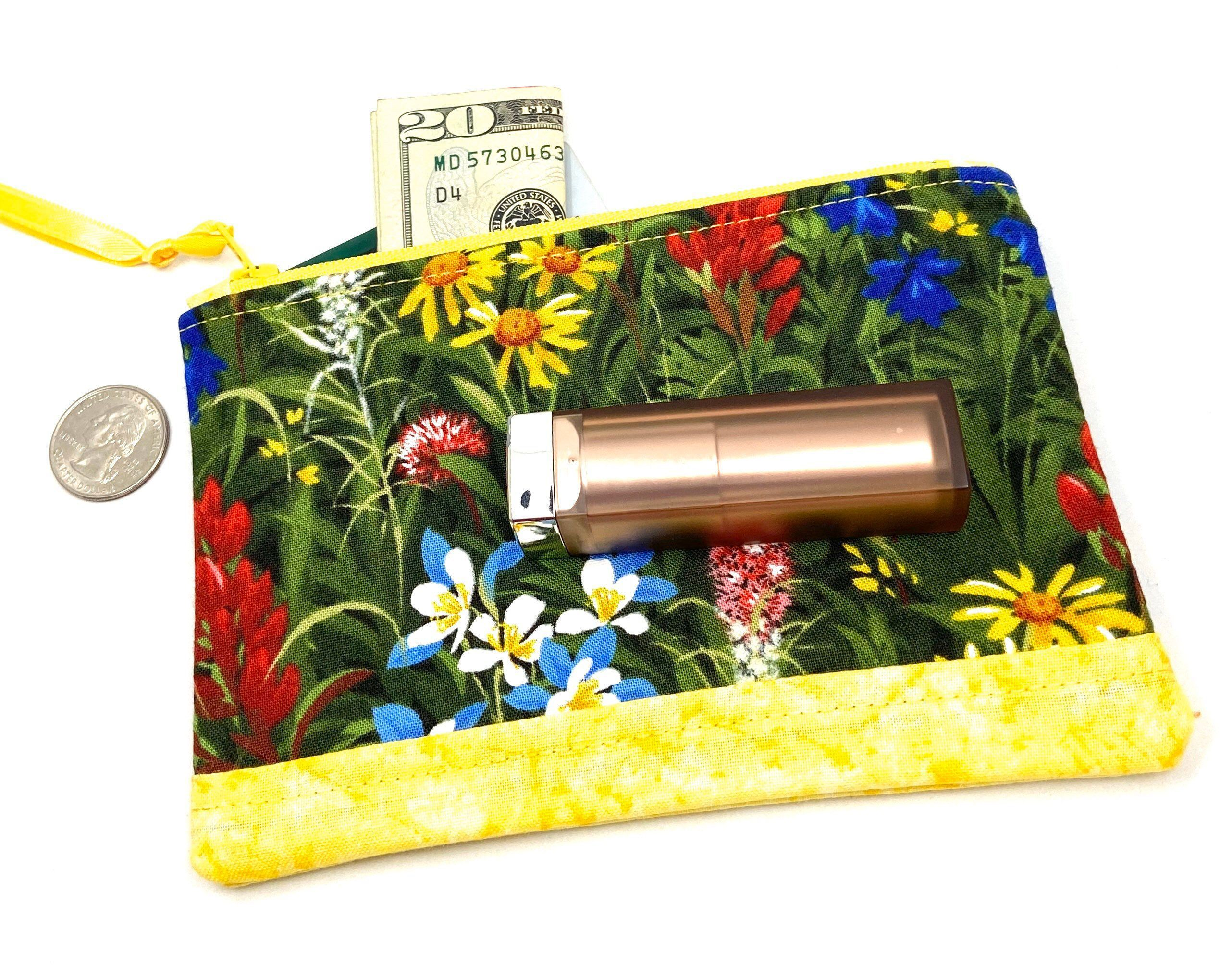 Wildflower Quilted Fabric Zipper Pouch, Coin Purse, Multi-Color Small Cosmetic Bag#bag #coin #cosmetic #fabric #multicolor #pouch #purse #quilted #small #wildflower #zipper
