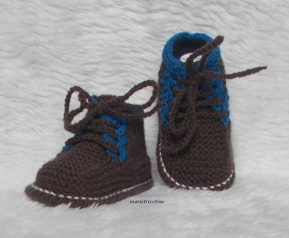 handicaps structurels nouveaux articles avant-garde de l'époque Chaussons bébé style kickers en laine 0/3 mois tricotés main ...