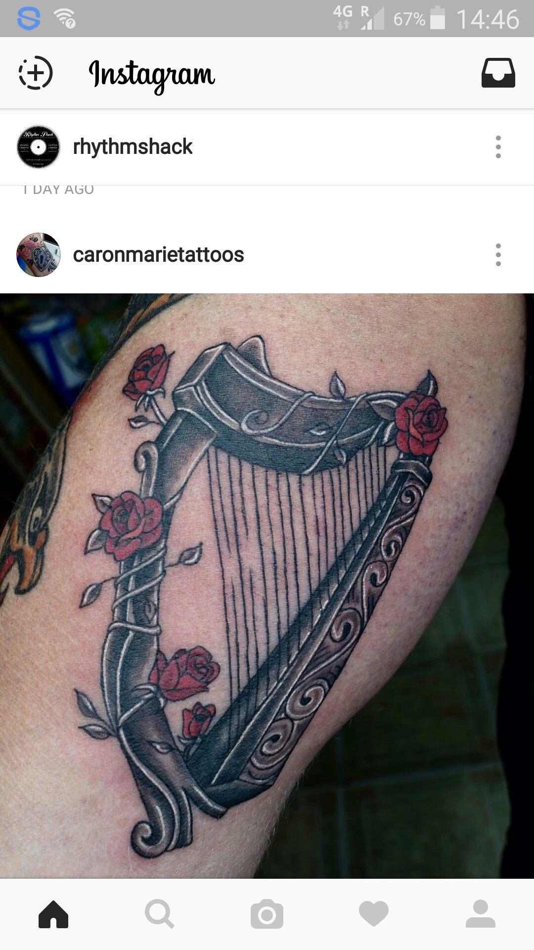 a638058d6 My Irish harp. English Rose tattoo | tattoo | Irish tattoos, Music ...