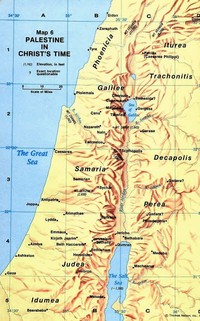 Ancient Map Of Palestine During The Time Of Jesus Christ - Map of palestine