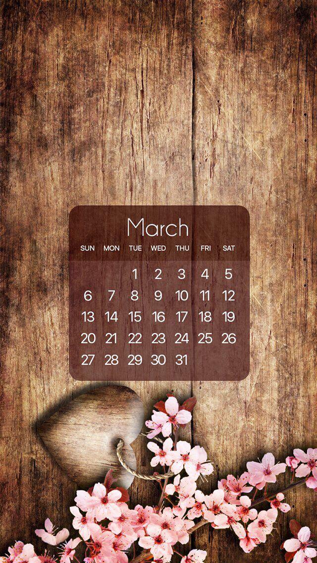 Wallpaper iPhone calendar March 2016 Seizoenen