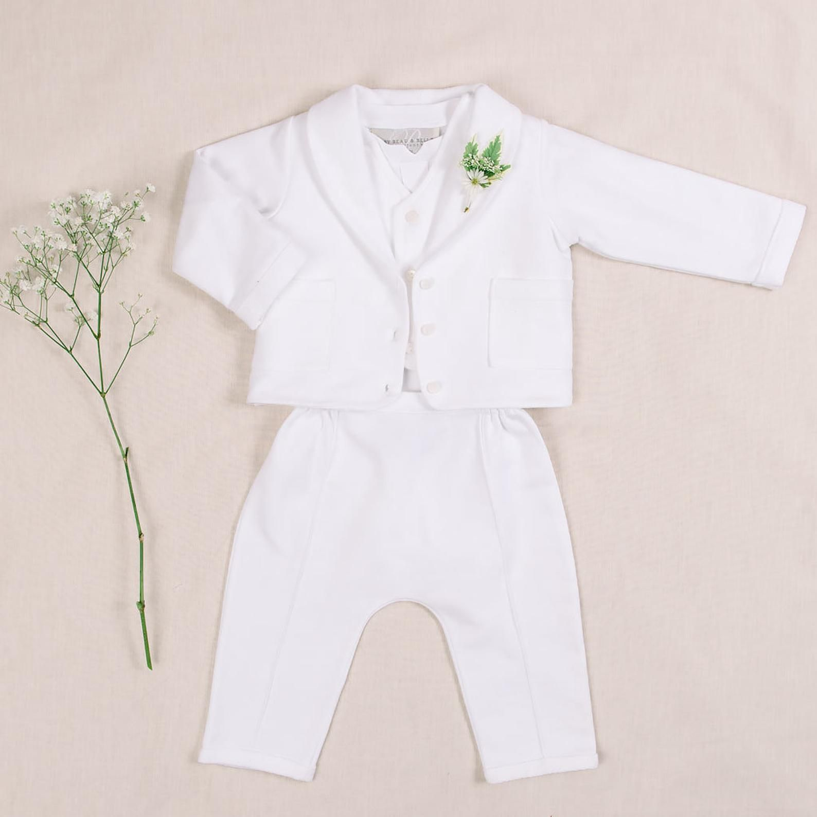 New Baby Boys Infant Christening Baptism White Outfit Set Dedication w// Hat SB