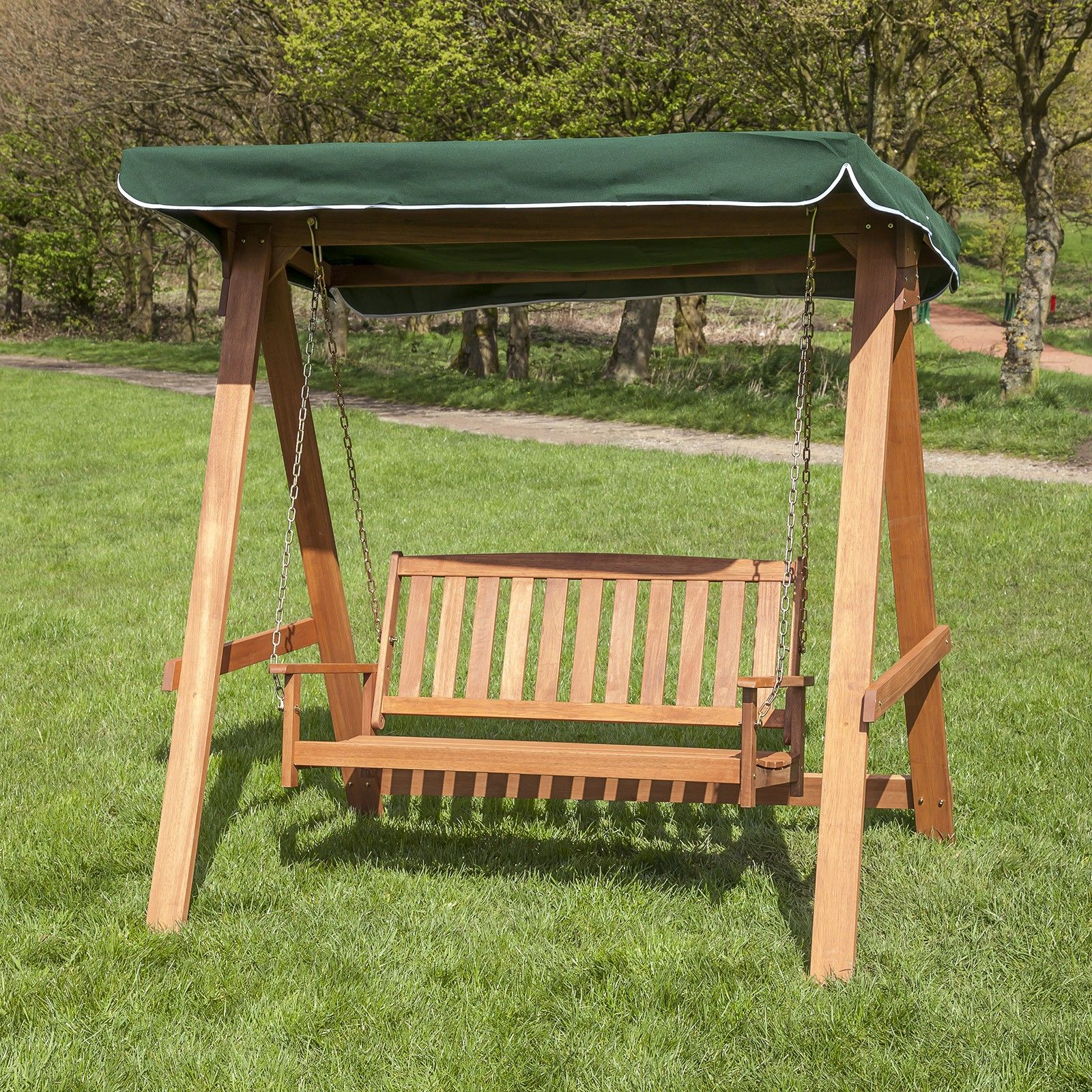 2 Seater Wooden Swing Seat With Coloured Canopy Wood