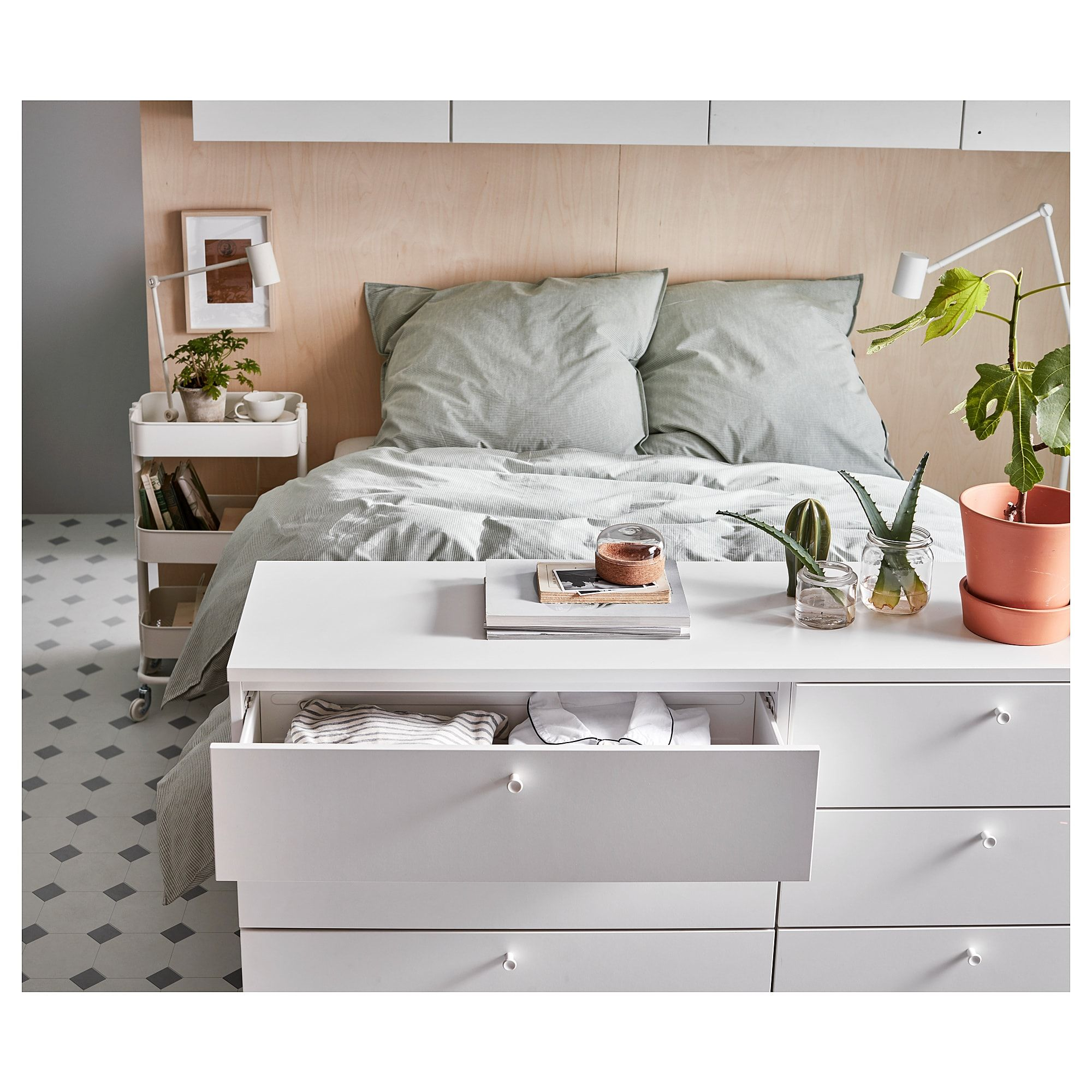 Platsa Bettgestell Mit 10 Schubladen Weiss Fonnes Ikea Osterreich Bettgestell Wohnung Bett