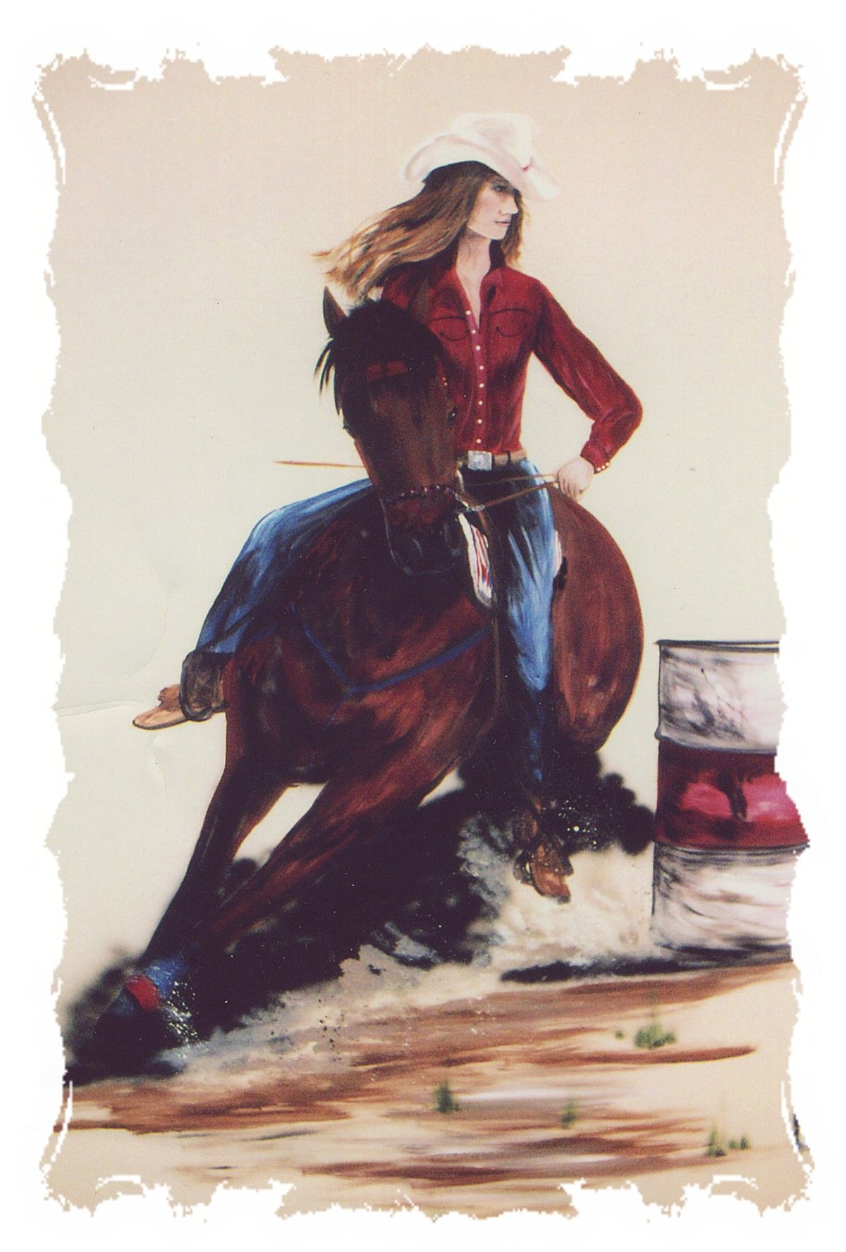 This is a mural of a teenage girl and her horse barrel racing I did on her wall