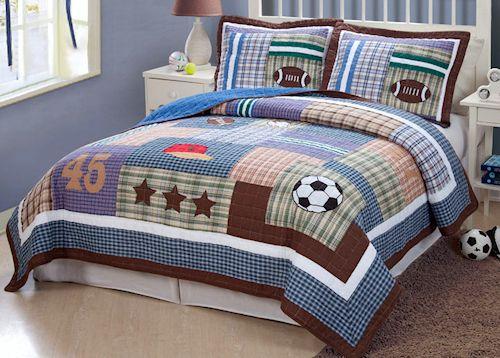 Field Sports Boys Bedding Full/Queen Quilt Set - Soccer, Football ... : sports quilt bedding - Adamdwight.com